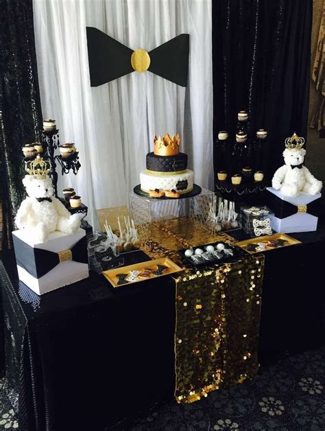 Black And Gold Baby Shower by Baby Shower With Gold Payette Sequin Table