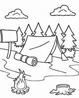 Coloring Tent Forest Camp Pages Printable Summer Sheet sketch template