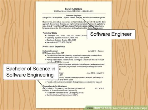 Keep Resume To One Page by 3 Ways To Keep Your Resume To One Page Wikihow