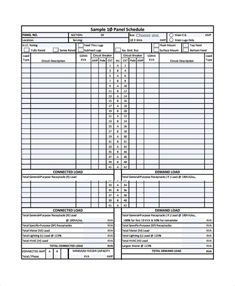 electrical panel schedule template excel 8 panel schedule templates sle templates