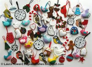 bugs and fishes by lupin lots of felt christmas decorations