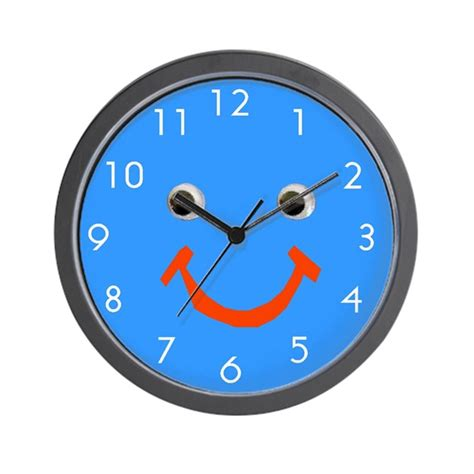 cool blue smiley face wall clock  artplaygifts