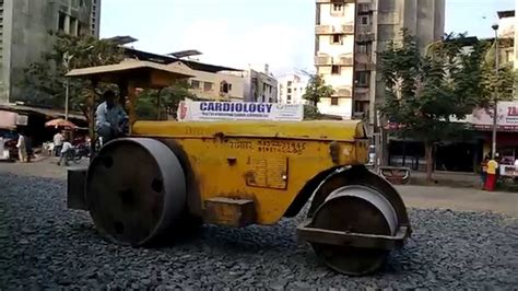 Huge Road Roller At Road Construction Site Mumbai India