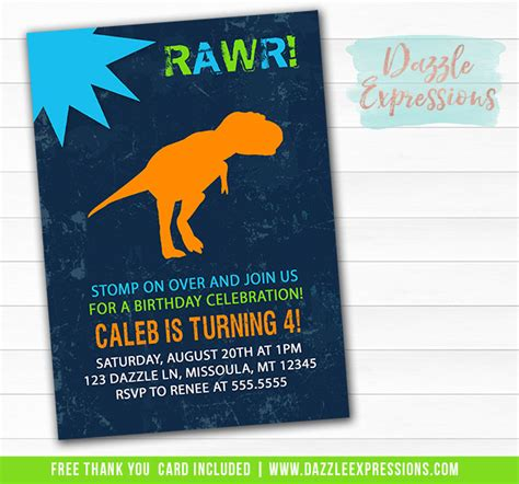 printable dinosaur birthday invitation tyrannosaurus