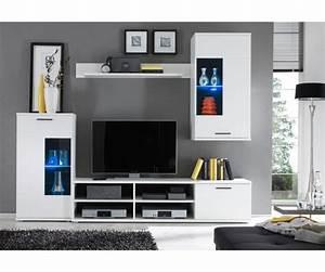 Wohnwand 240 Cm Breit : anbauwand wohnwand wohnzimmerschrank schrankwand weiss mit led ca 230 cm breit ebay ~ Indierocktalk.com Haus und Dekorationen