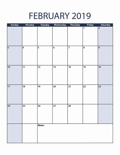 february calendar vertical february