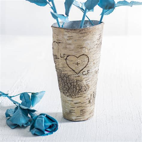 birch wood vase personalised rustic birch wood vase by letteroom