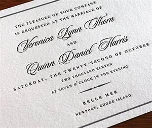 wedding invitation wording formal pt 3 letterpress With wedding invitations church address