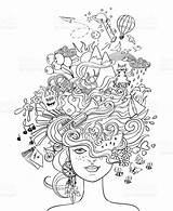 Crazy Hair Portrait Coloring Vector Adult Doodle Lifestyle Concept Illustration Young Clip Psychedelic Human Poster Istockphoto Pages Illustrations Drawing Creative sketch template
