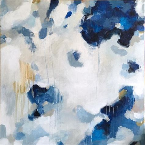 Nuve Large Blue And White Abstract Acrylic Painting
