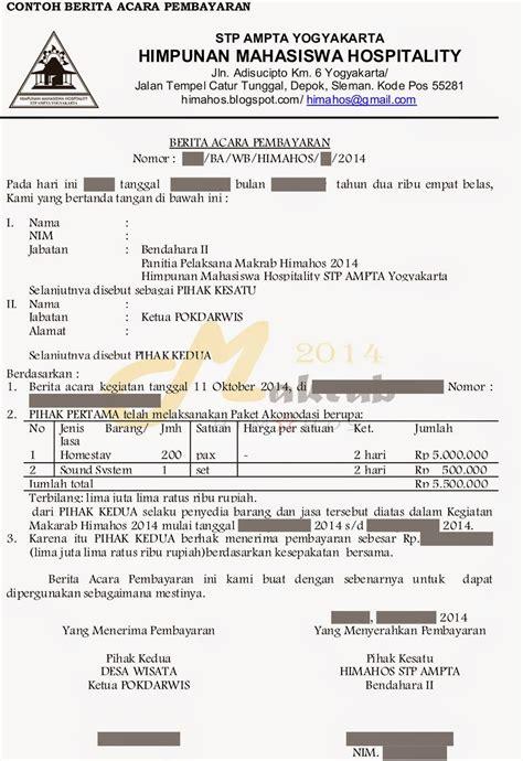 Contoh Berita Acara Kegiatan Organisasi by Himpunan Mahasiswa Hospitality Stp Ta Yogyakarta
