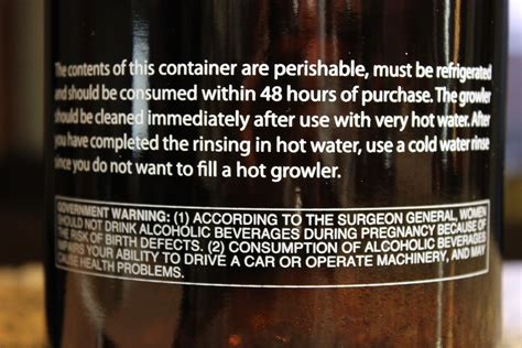 government warning alcohol label image