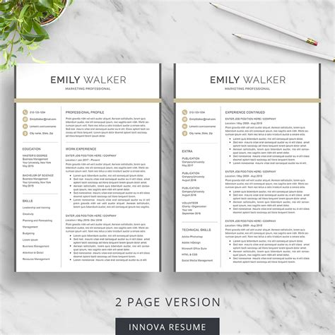 Resume Template 2 Pages by Modern Resume Template Innova Resume