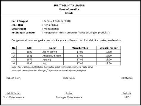 Contoh Surat Perintah Kerja Perusahaan by Pentingnya Surat Perintah Lembur Software Payroll Indonesia