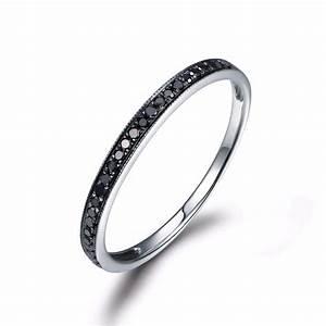MYRAY Black Diamond Wedding Band Engagement Ring Bezel Set