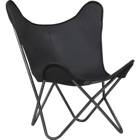 1938 black leather butterfly chair in chairs cb2
