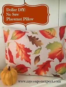 Fall Dollar Tree Decor: DIY No Sew Placemat Pillow