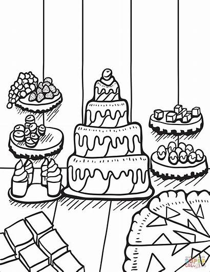 Coloring Desserts Table Pages Zentangle Printable Adults