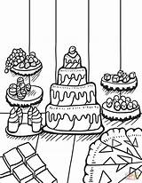 Coloring Desserts Table Zentangle Printable Adults Cake Periodic Drawing Dot Supercoloring sketch template