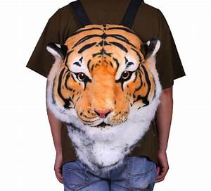 3D Tiger Head Plush Backpack - The Green Head