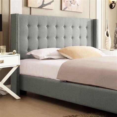 Inspire Q Beds by Inspire Q Marion Grey Linen Nailhead Wingback Platform Bed