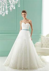 lace tulle summer sweetheart wedding dress with sash With wedding dresses com