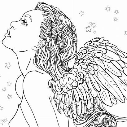 Coloring Pages Angel Adult Angels Female Fantasy