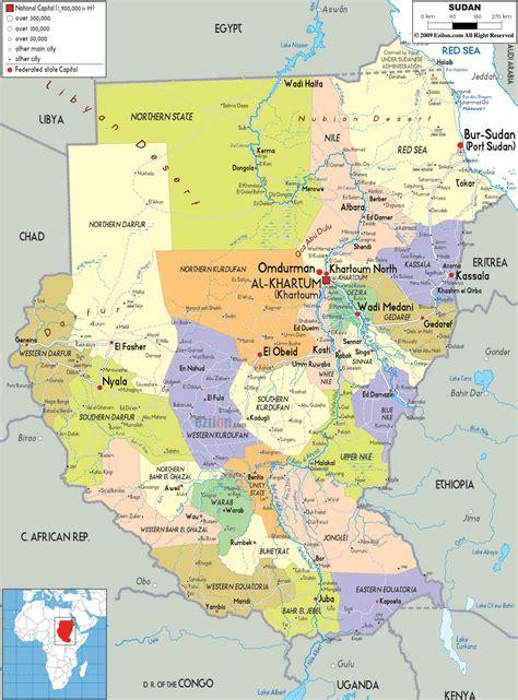 political map  sudan ezilon maps
