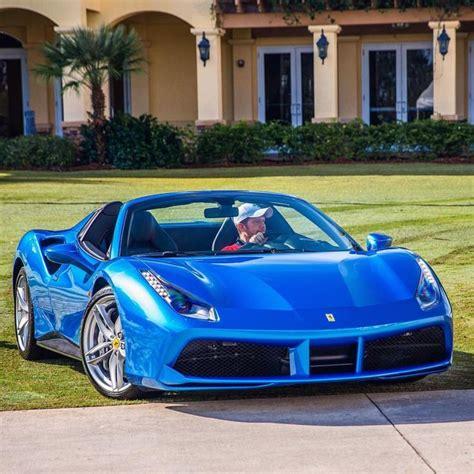 Ferrari 488 Spider Painted In Blue Corsa Photo Taken By