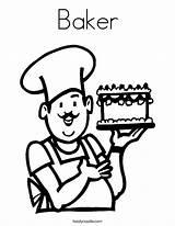 Coloring Baker Chef Cook Cooking Clipart Cake Printable Hat Grow Want Kindergarten Twistynoodle Outline Kitchen Printables Template Helpers Preschool Career sketch template