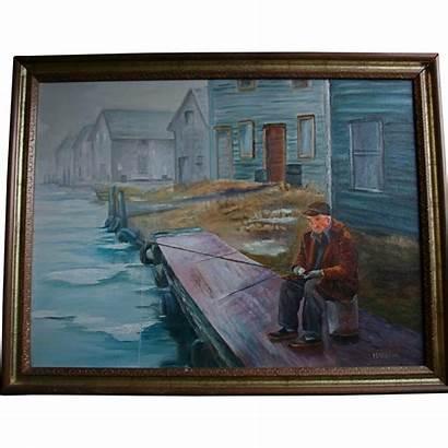 Pier Fishing Painting Oil Star Mid Century