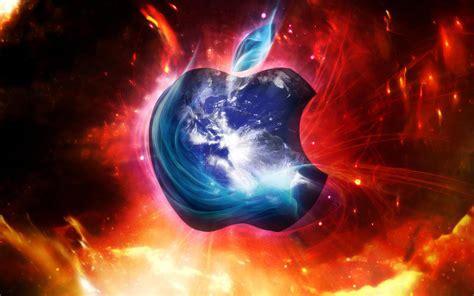 ice apple  fire background hd wallpaper