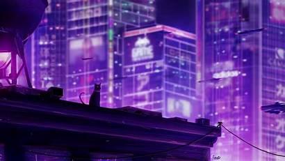 Future Tokyo Neo Cat Wallpapers Roof Neon