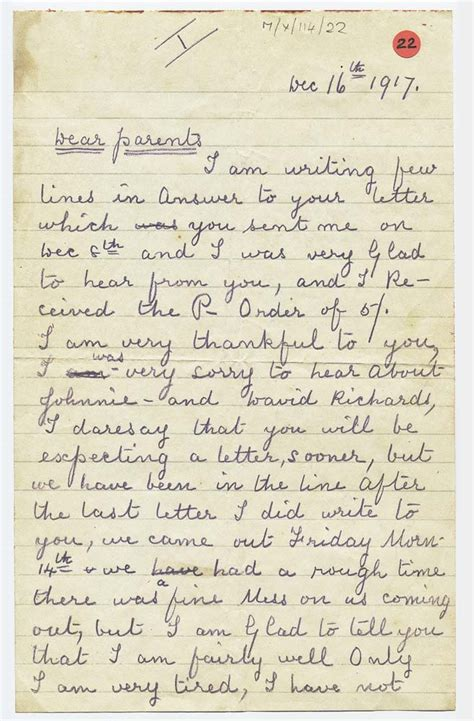 letter sent home from the first world war by owen ashton