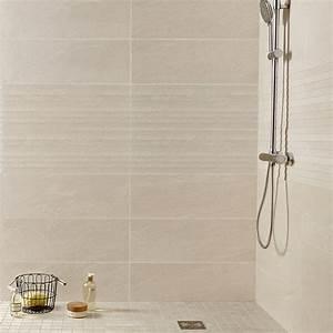 faience mur beige milano l24 x l69 cm leroy merlin With carrelage adhesif salle de bain avec panneau led photo