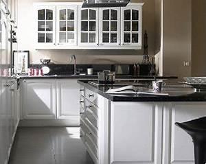 cuisine equipee castorama style retro coloris blanc With idee deco cuisine avec cuisine Équipée noir et blanc