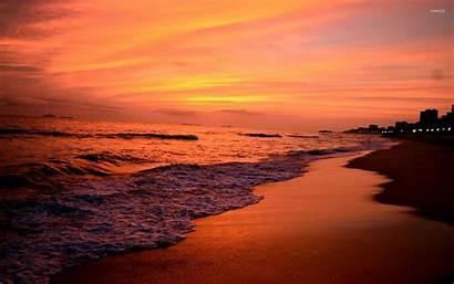 Sunset Skyline Beach Sandy Beaches Desktop Backgrounds