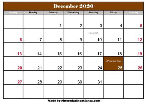 december calendar holidays calendar template printable