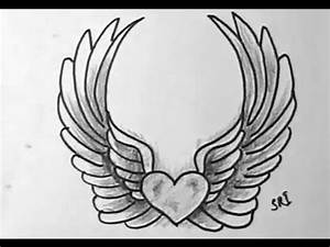 How to Draw A Lovely heart with wings - YouTube