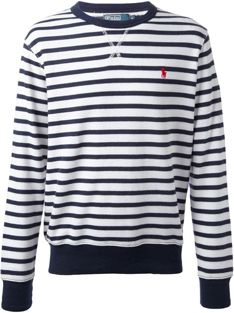 and white striped sweater lyst ralph stripe sweater in blue for