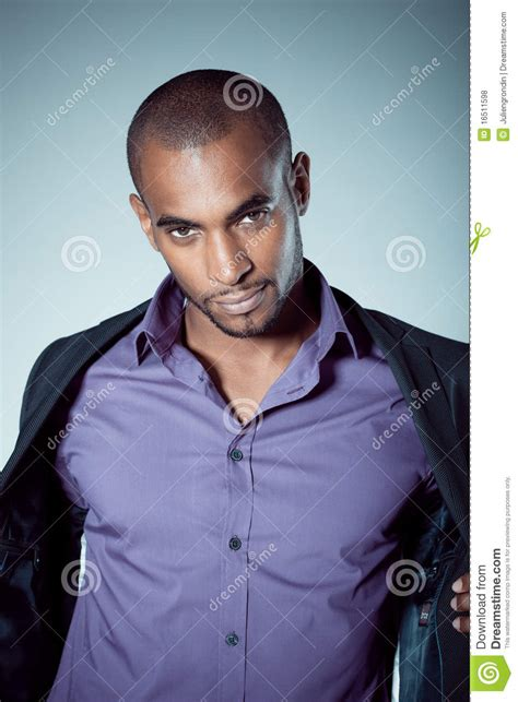 handsome young black man stock photo image  shirt