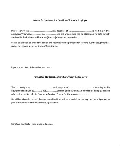 objection certificate templates   sample