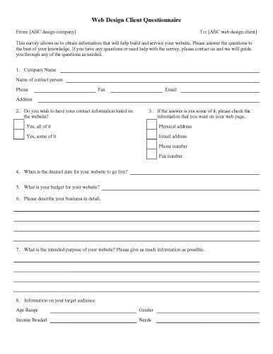 Interior Design Questionnaire For Clients Brokeasshomecom