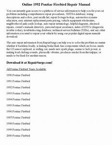 1992 Pontiac Firebird Repair Manual Online By Sweyer