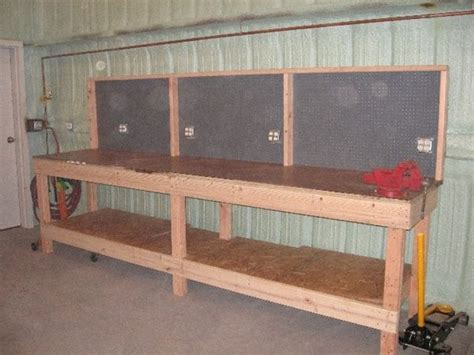 garage work bench add peg board painted red