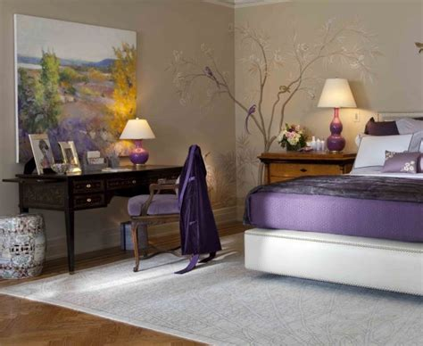 Purple Bedroom Decor Ideas With Grey Wall And White Accent