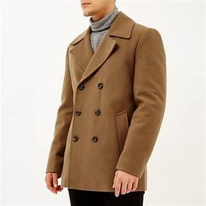 river island brown smart wool blend pea coat in brown for With brown pea coat mens