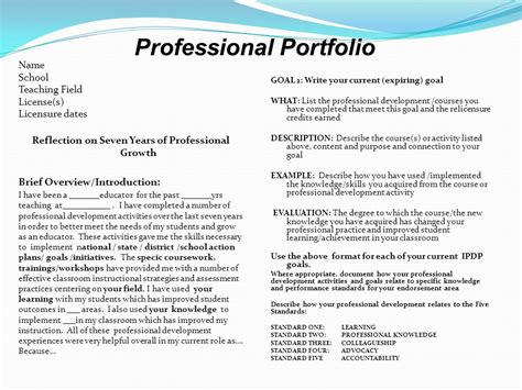 Professional Teaching Portfolio Template by It S All About The Reflection And The Goals Ppt