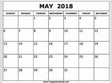 Blank May 2018 Calendar Printable