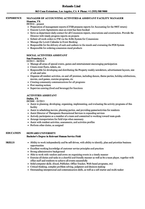 activities assistant resume sles velvet